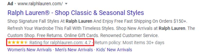 Google Seller Ratings Example