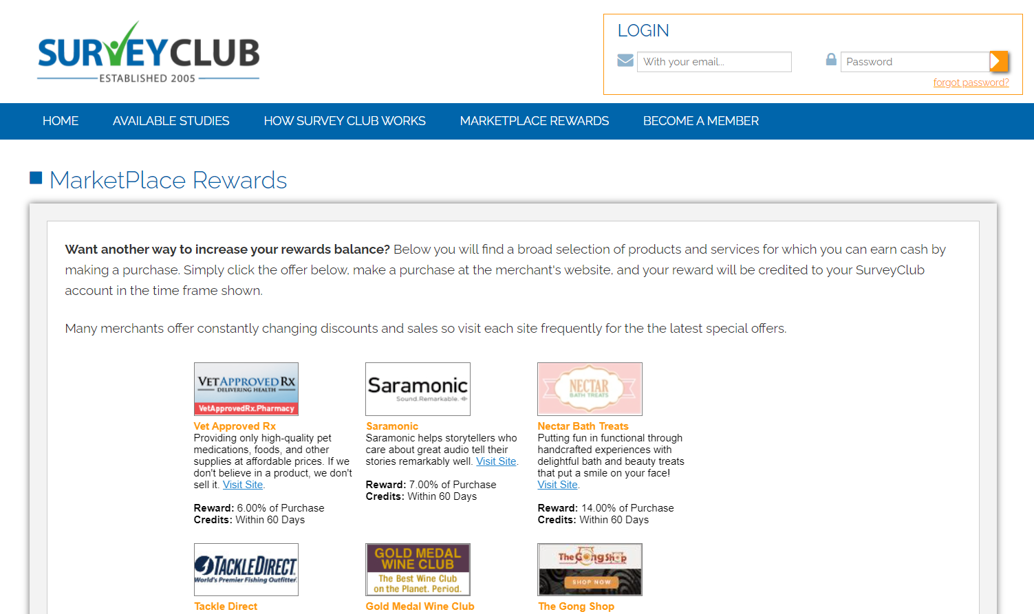 SurveyClub Rewards Marketplace